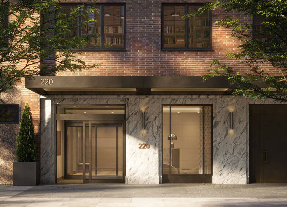 rendering of the entrance to 220 East 72nd