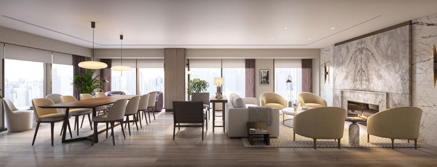 rendering of a living and dining room with fireplace