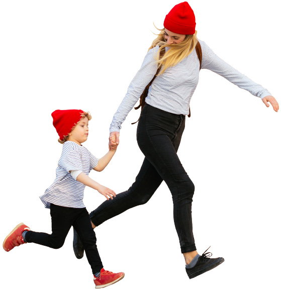 image of a woman and young boy running