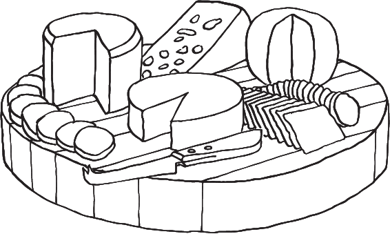 drawing of a cheese plate