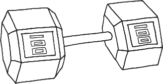 drawing of a dumbell weight
